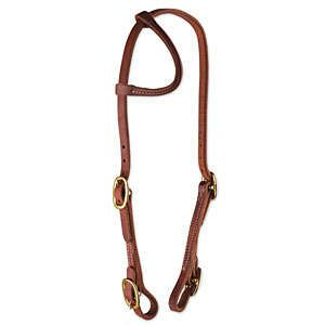Oiled Harness Leather One ear Bridle - Brass Buckle ends