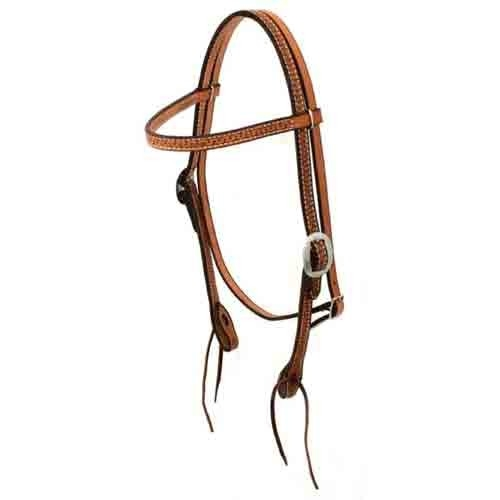 Natural Leather - Basket Stamped Bridle