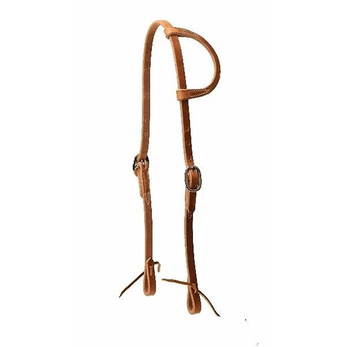 Oiled Harness Leather One Ear Bridle with lace ends - Double Buckle