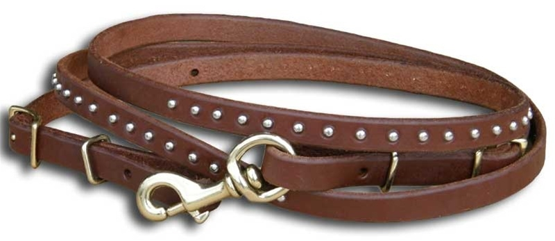 Studded Flat Leather Competition Reins