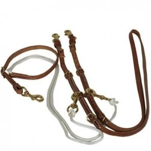 German Martingale  - Premium Natural Leather Competition Reins