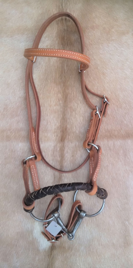 Leather / Braided Nose Side Pull with Snaffle