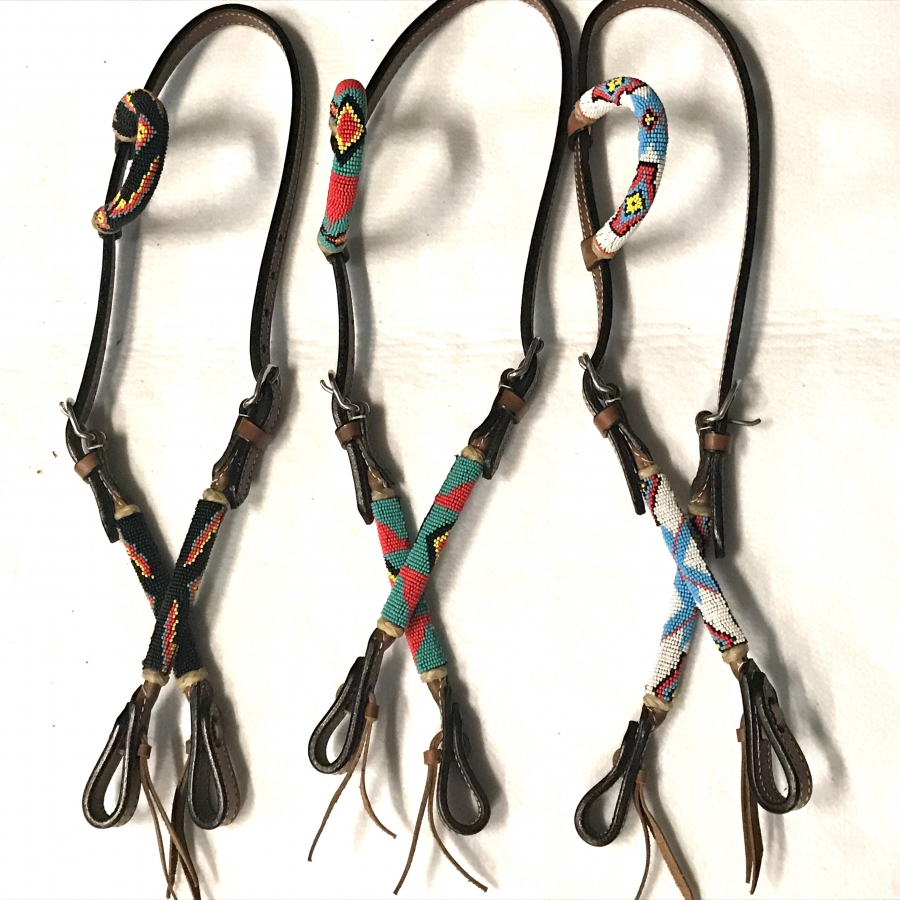 Beaded One Ear Bridle - Chestnut Leather